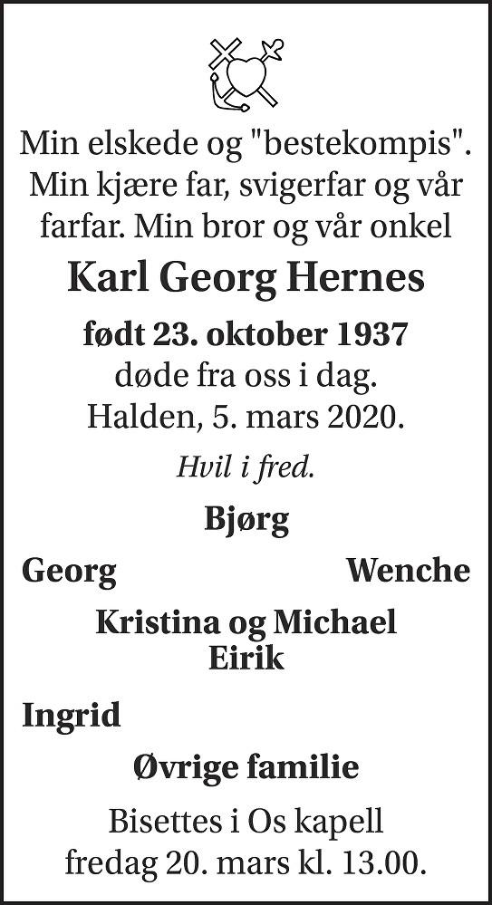 Karl Georg Hernes Dødsannonse