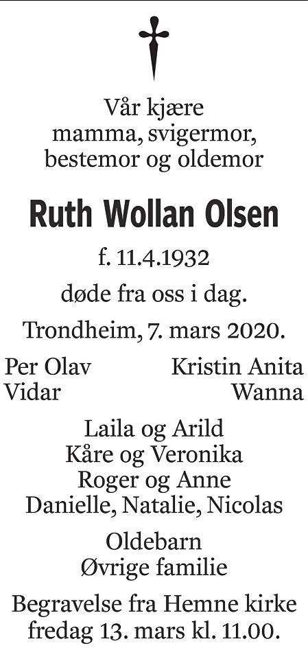 Ruth Wollan Olsen Dødsannonse