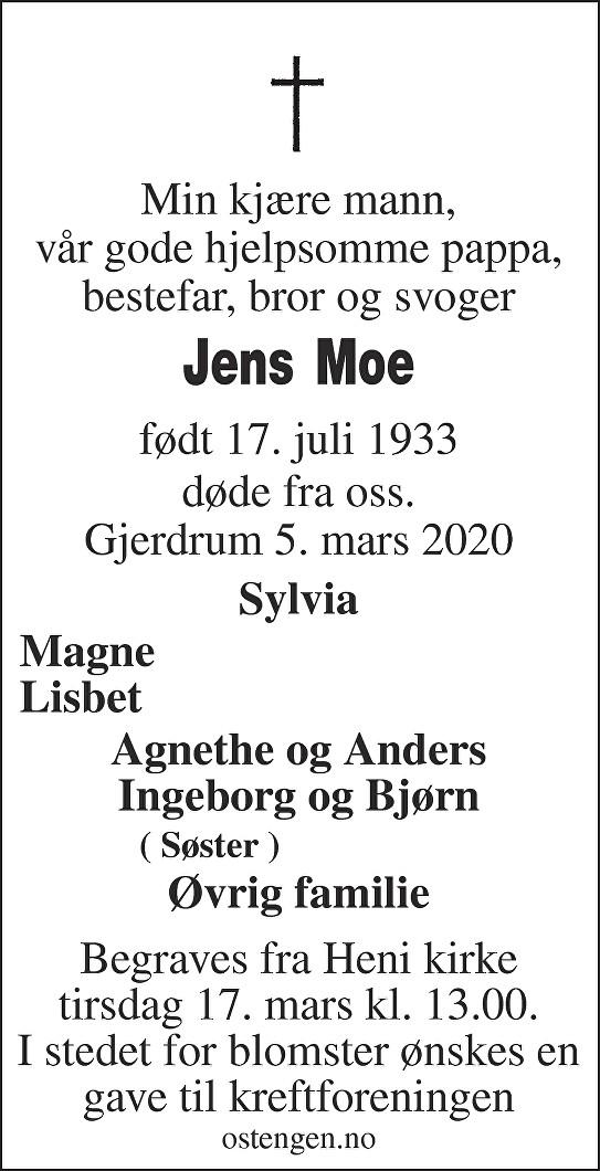 Jens Kristian Moe Dødsannonse