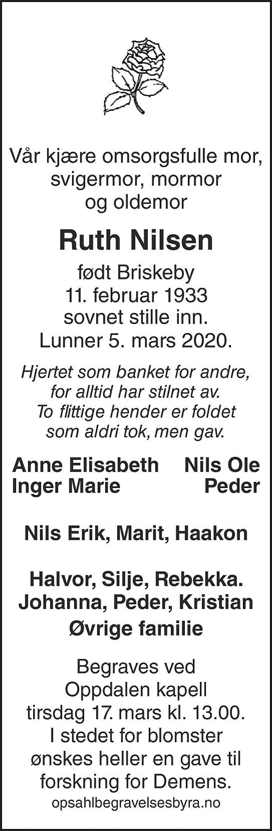 Ruth Nilsen Dødsannonse