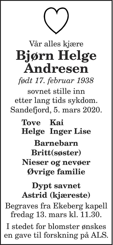 Bjørn Helge Andresen Dødsannonse