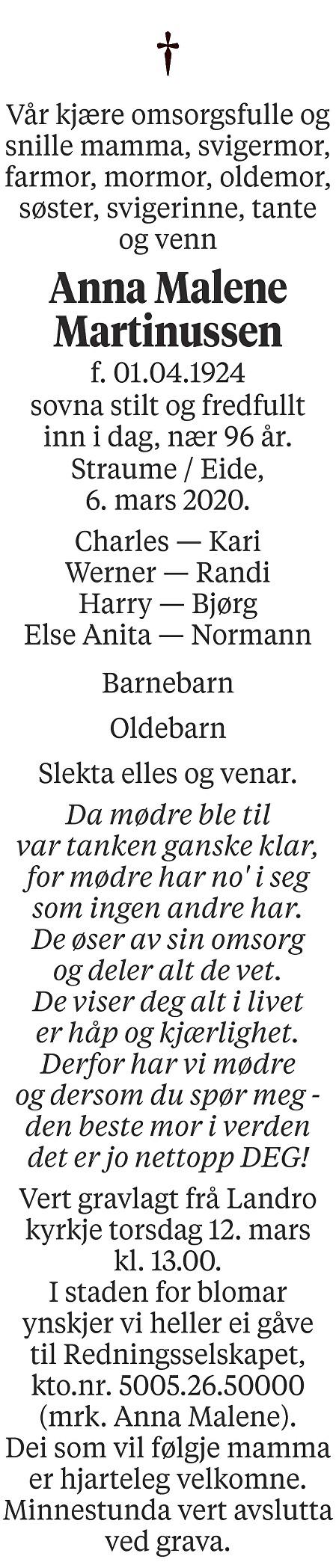 Anna Malene Martinussen Dødsannonse