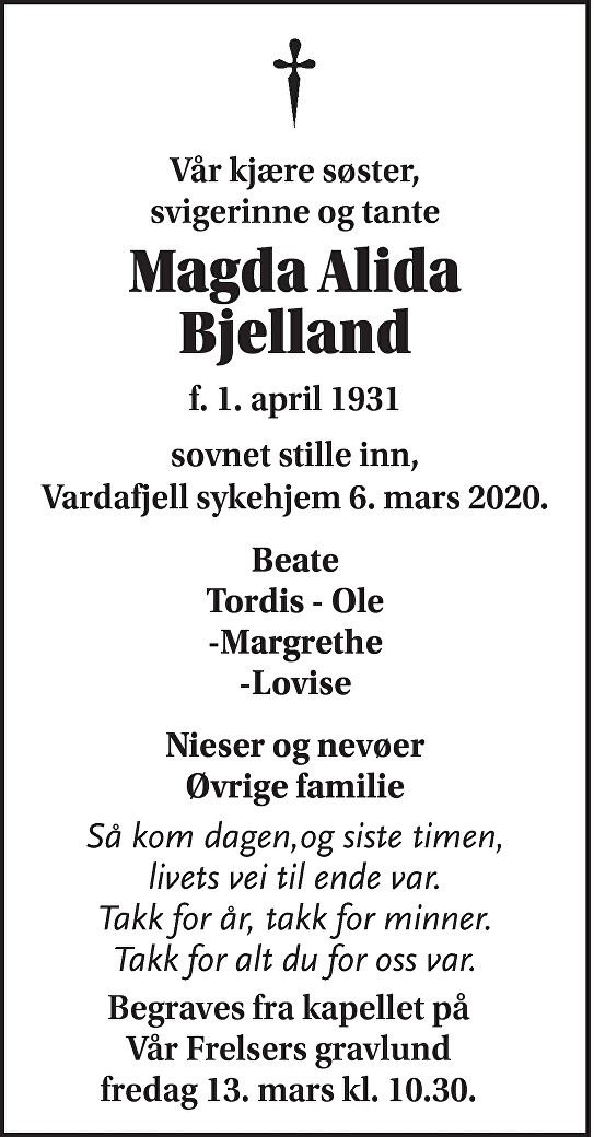 Magda Alida Bjelland Dødsannonse