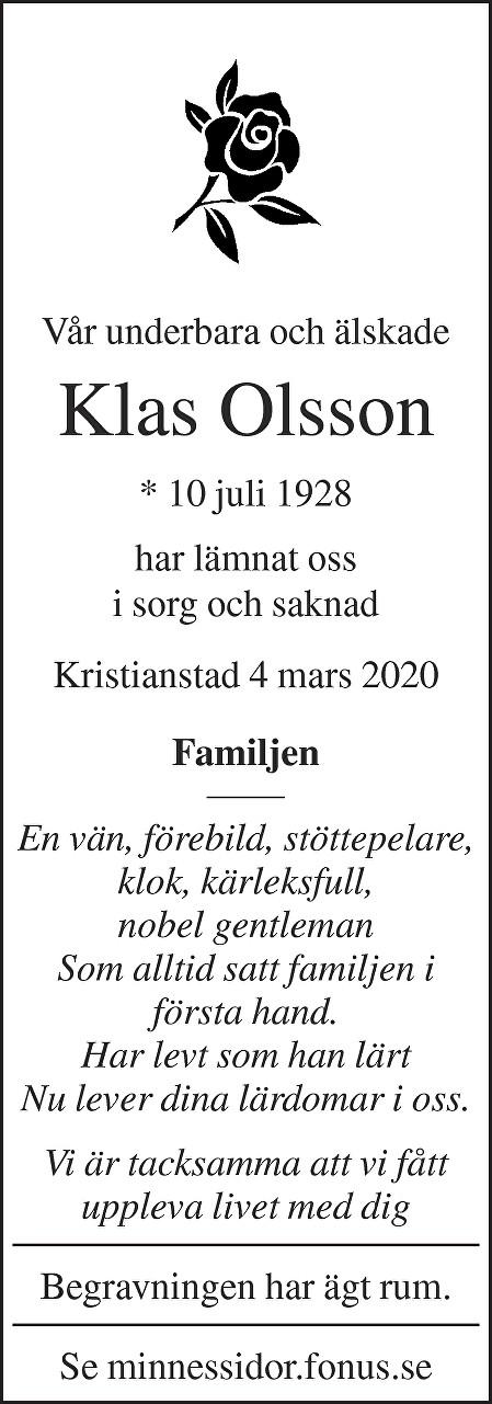 Klas Olsson Death notice