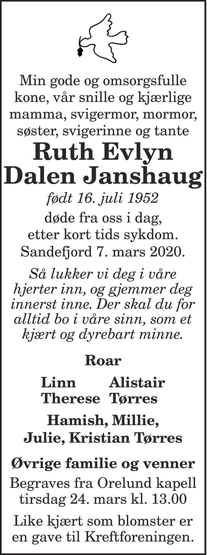 Ruth Evelyn Dalen Janshaug Dødsannonse