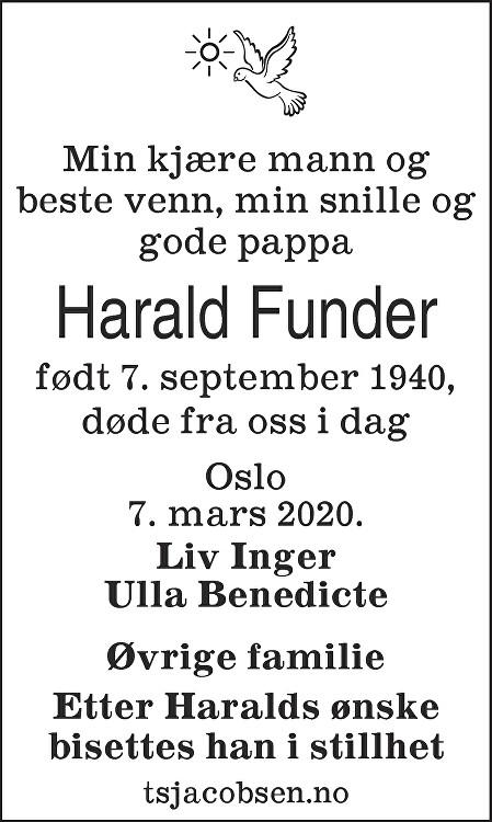 Harald Funder Dødsannonse