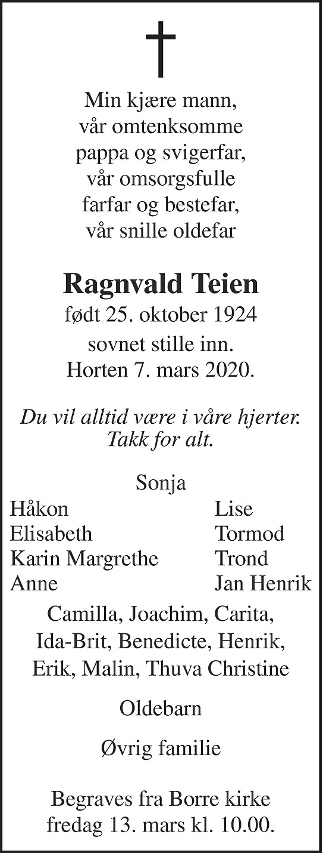 Ragnvald Teien Dødsannonse
