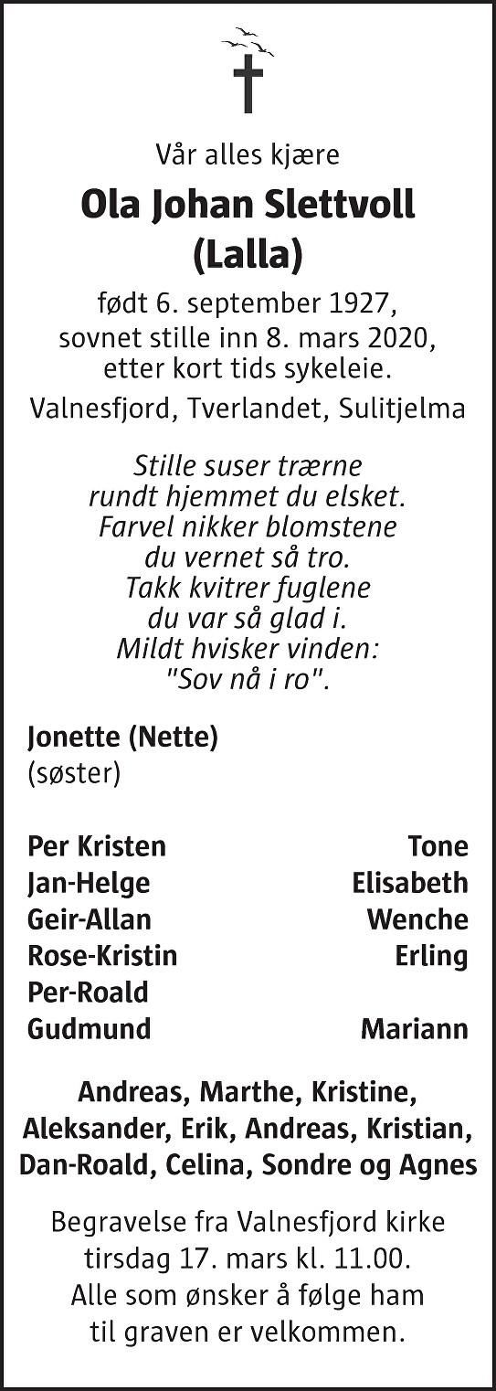 Ola Johan Slettvoll Dødsannonse