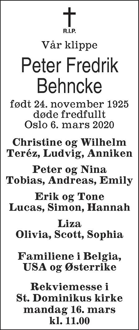 Peter-Fredrik Behncke Dødsannonse