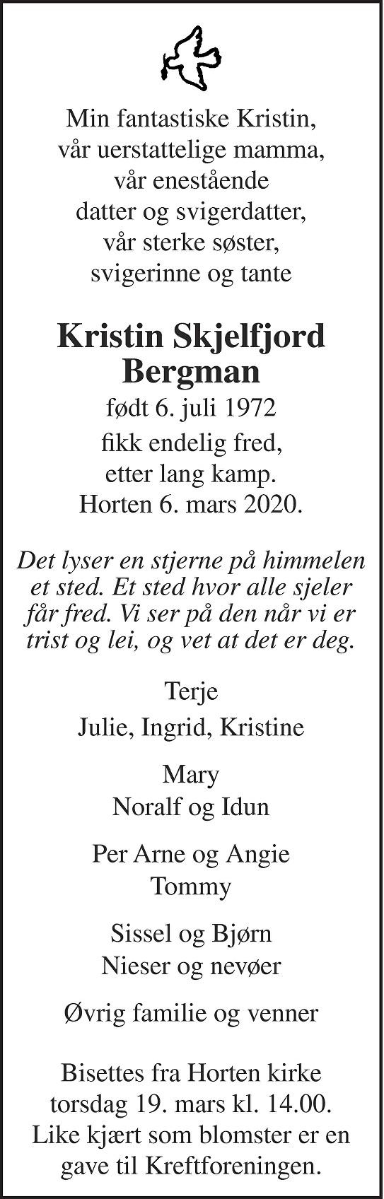 Kristin Skjelfjord Bergman Dødsannonse