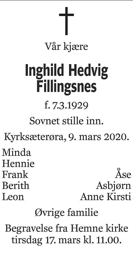 Inghild Hedvig Fillingsnes Dødsannonse