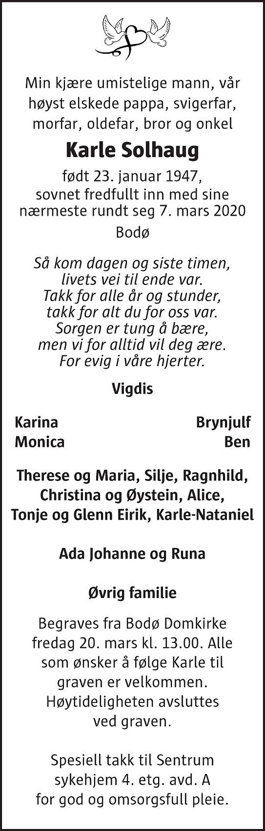 Karle  Solhaug Dødsannonse