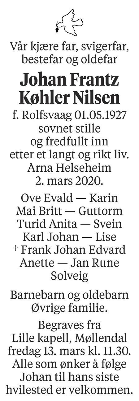 Johan Frantz Køhler Nilsen Dødsannonse