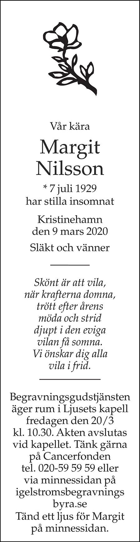 Margit Nilsson Death notice
