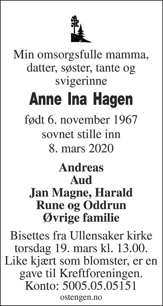 Anne Ina Hagen Dødsannonse