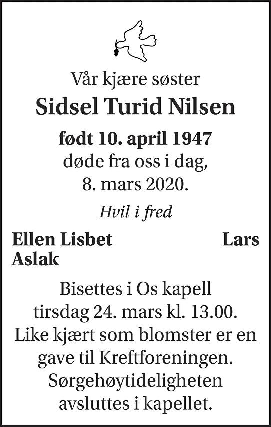 Sidsel Turid Nilsen Dødsannonse