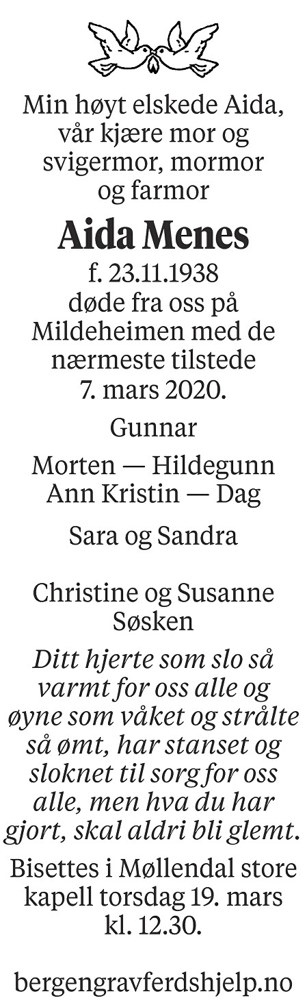 Aida Karin Menes Dødsannonse