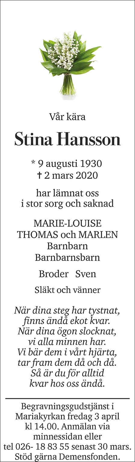 Stina Hansson Death notice