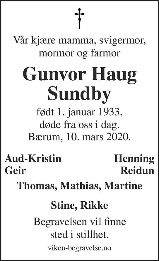 Gunvor Haug Sundby Dødsannonse