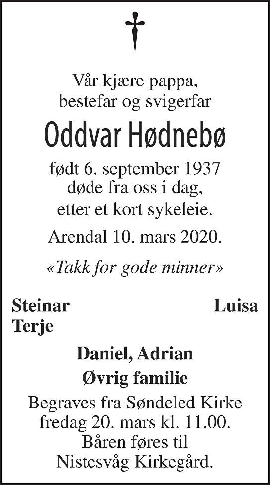 Oddvar Hødnebø Dødsannonse