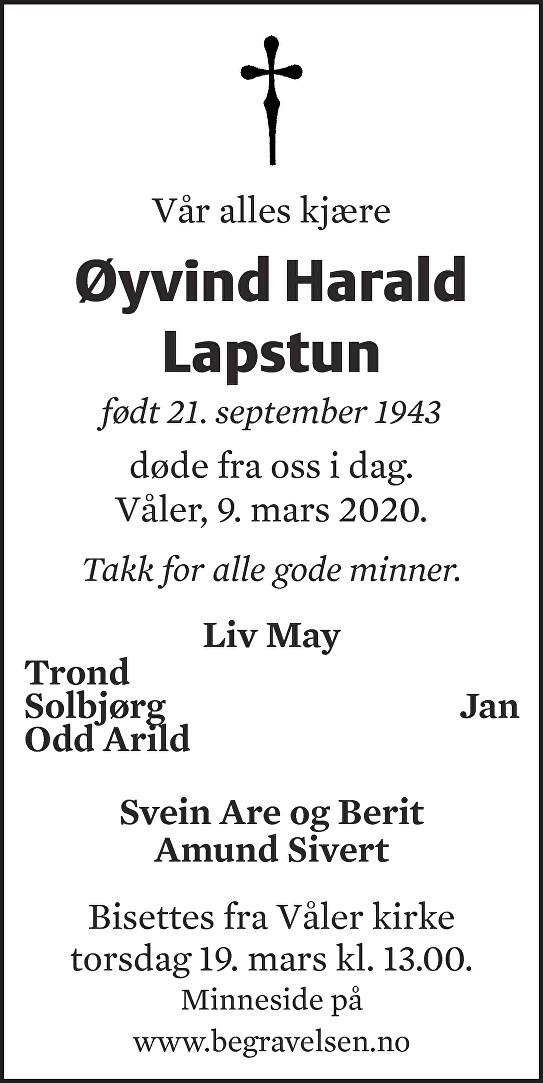 Øyvind Harald Lapstun Dødsannonse