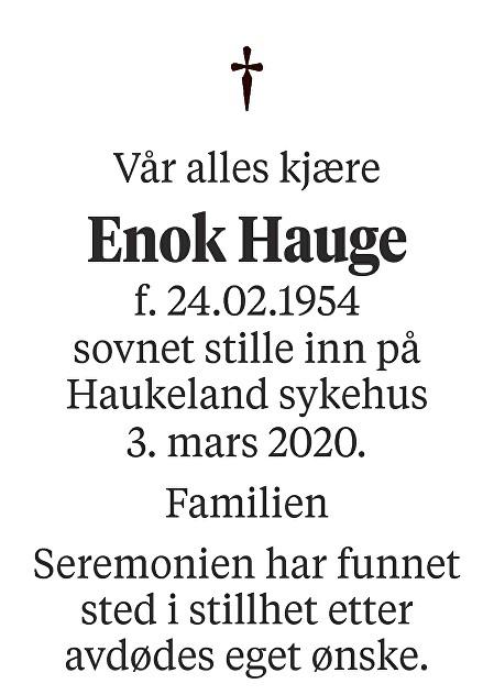 Enok Hauge Dødsannonse