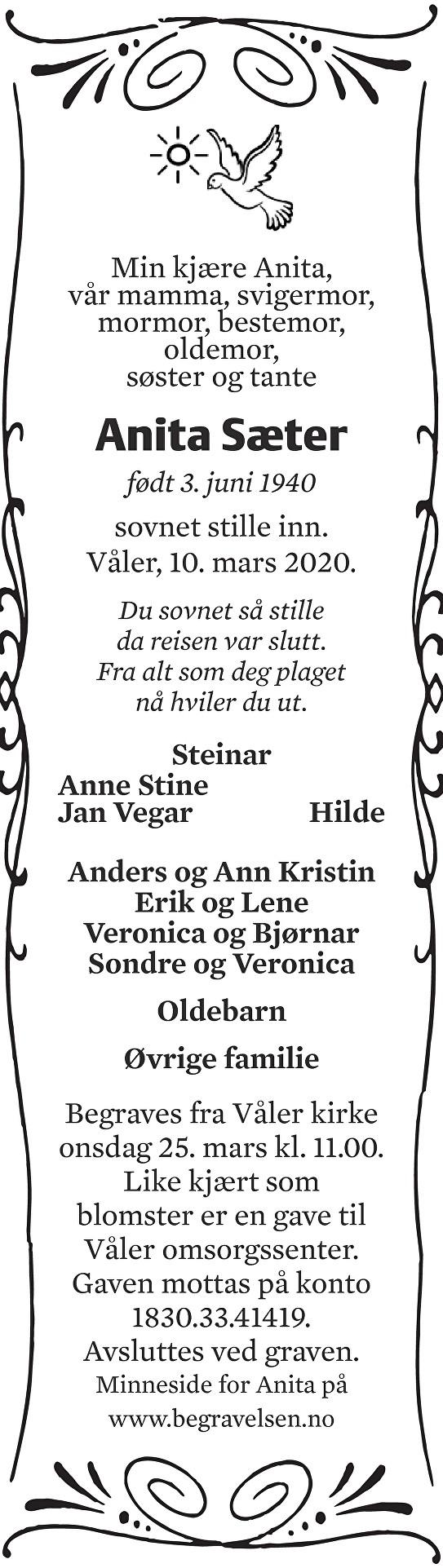 Anita Sæter Dødsannonse