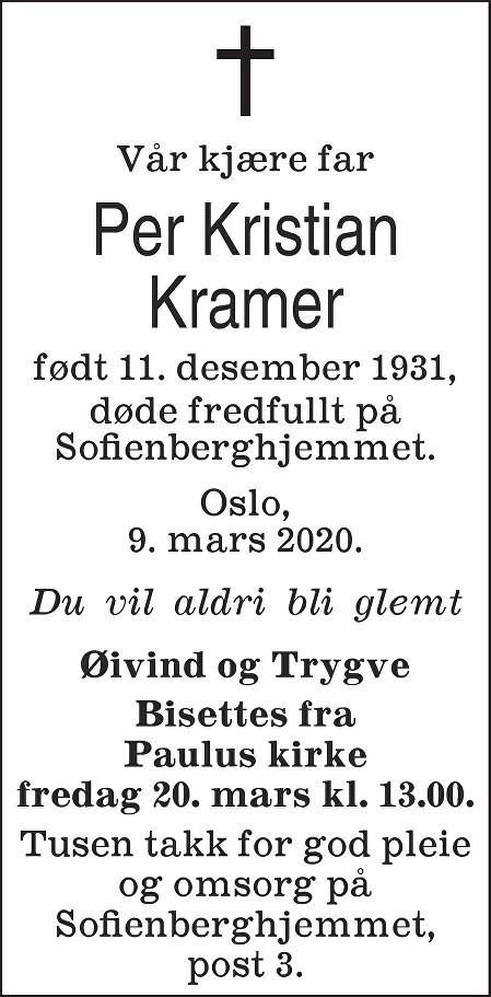 Per Kristian Kramer Dødsannonse