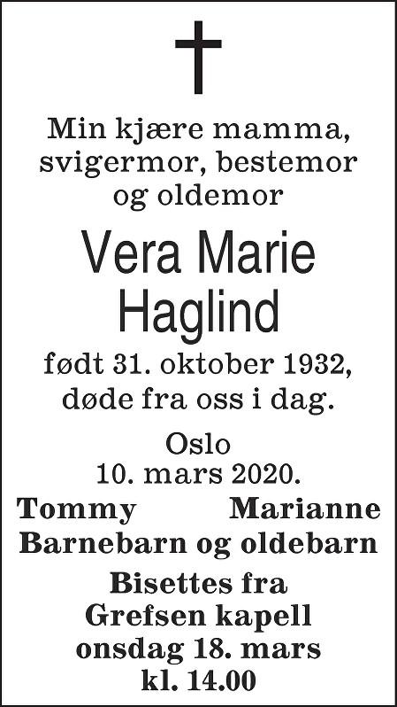 Vera Marie Haglind Dødsannonse
