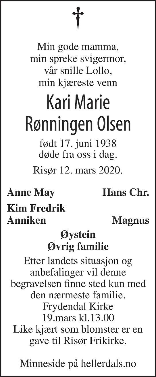 Kari Marie  Rønningen Olsen Dødsannonse