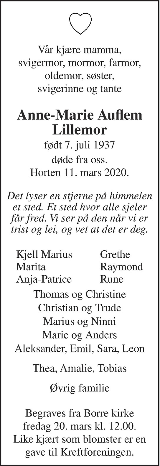 Anne-Marie Auflem Dødsannonse