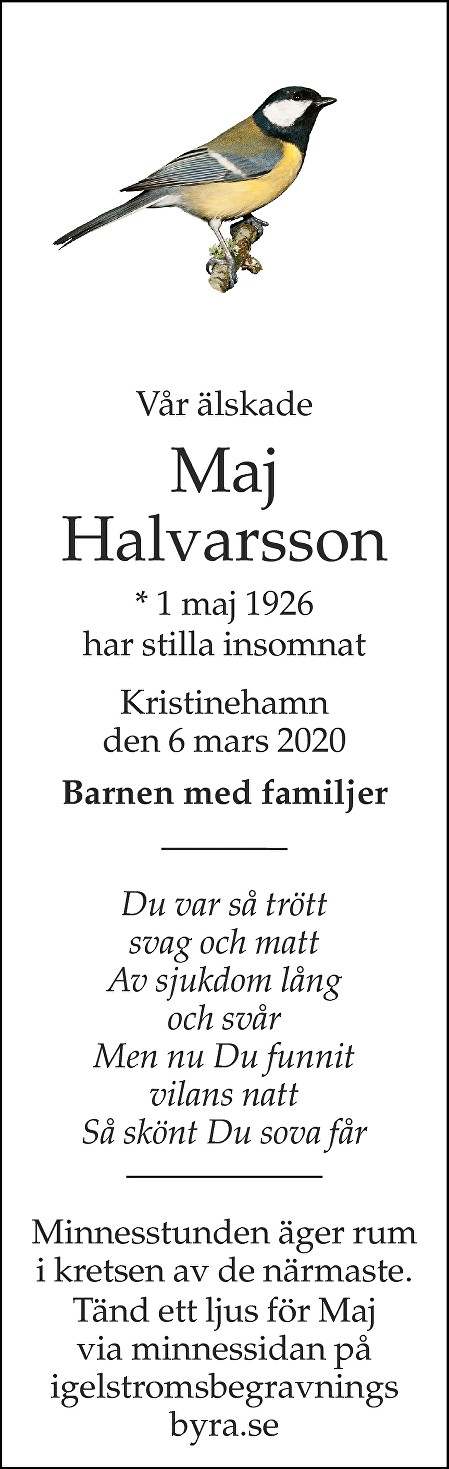 Maj Halvarsson Death notice