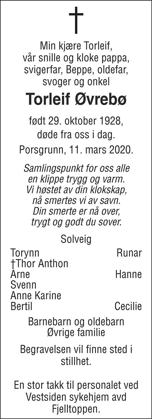 Torleif Øvrebø Dødsannonse