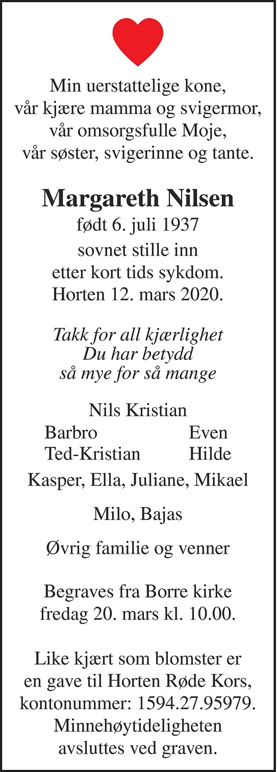 Margareth Nilsen Dødsannonse