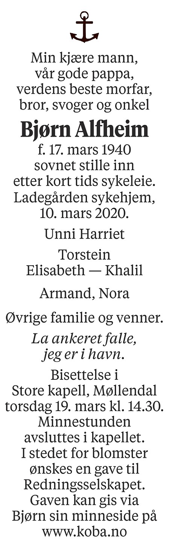 Bjørn Alfheim Dødsannonse