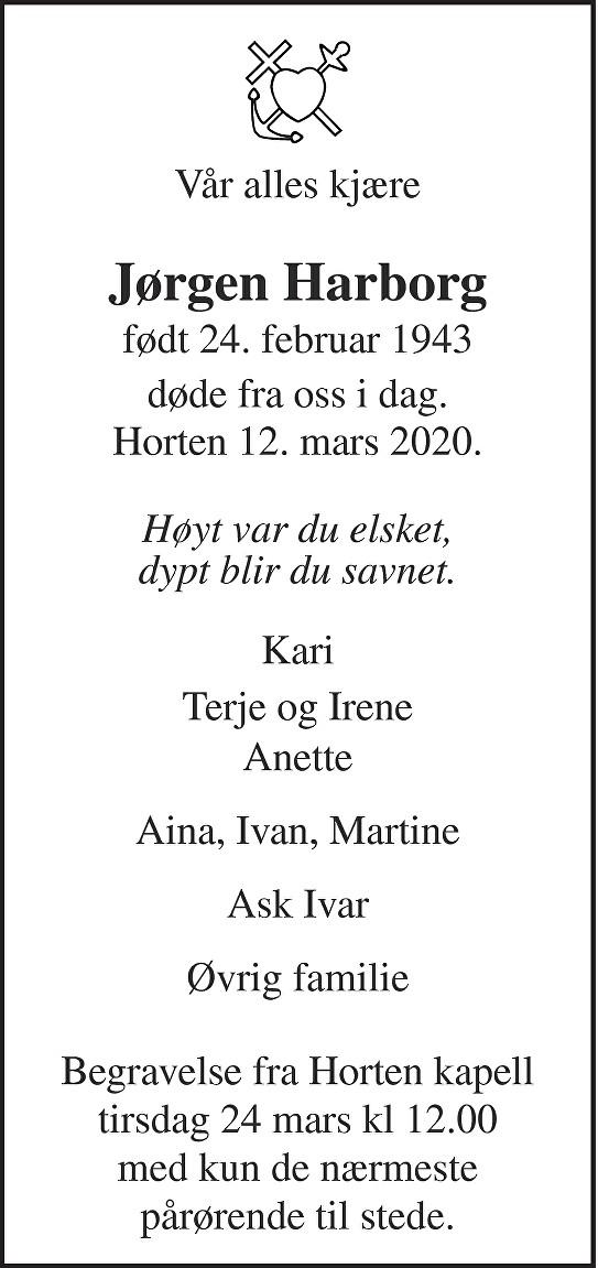 Jørgen Harborg Dødsannonse
