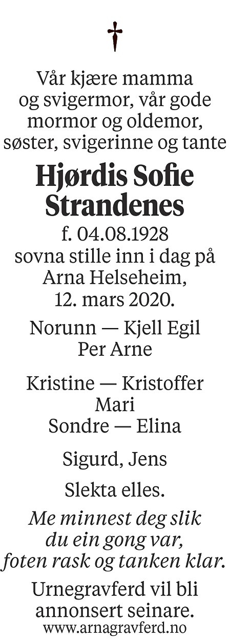 Hjørdis Sofie  Strandenes Dødsannonse