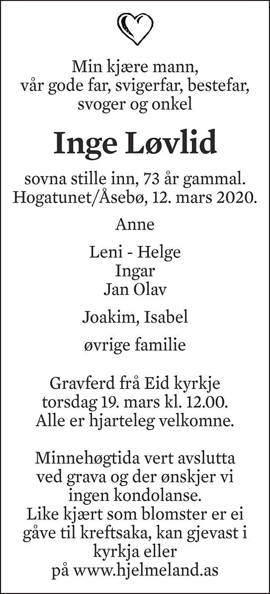 Inge Løvlid Dødsannonse