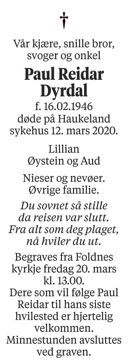 Paul Reidar Dyrdal Dødsannonse