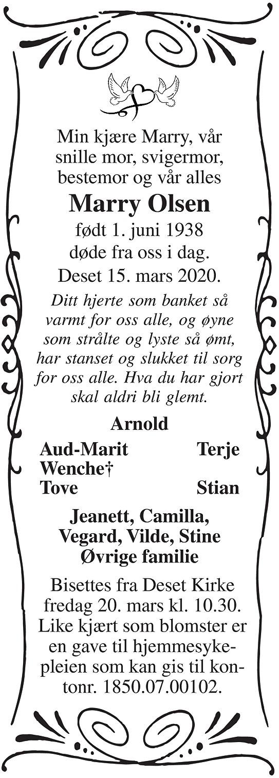 Marry Olsen Dødsannonse
