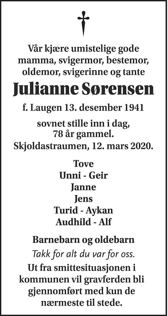 Julianne Sørensen Dødsannonse