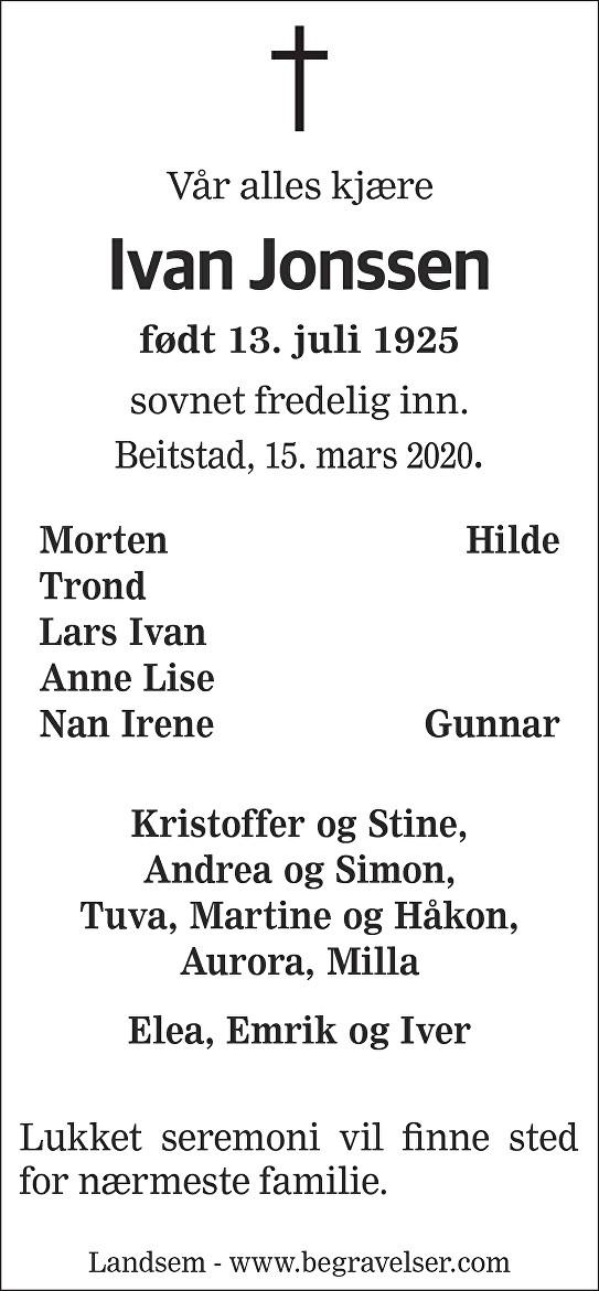 Ivan Jonssen Dødsannonse