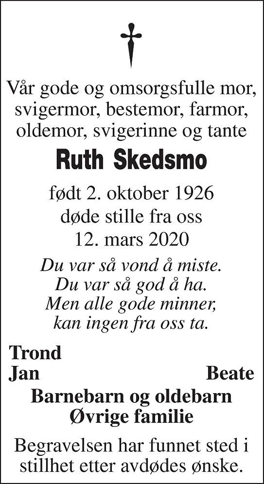 Ruth Skedsmo Dødsannonse