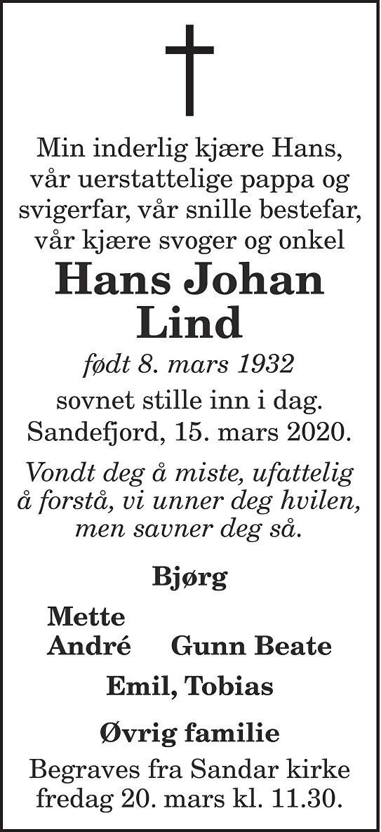 Hans Johan Lind Dødsannonse