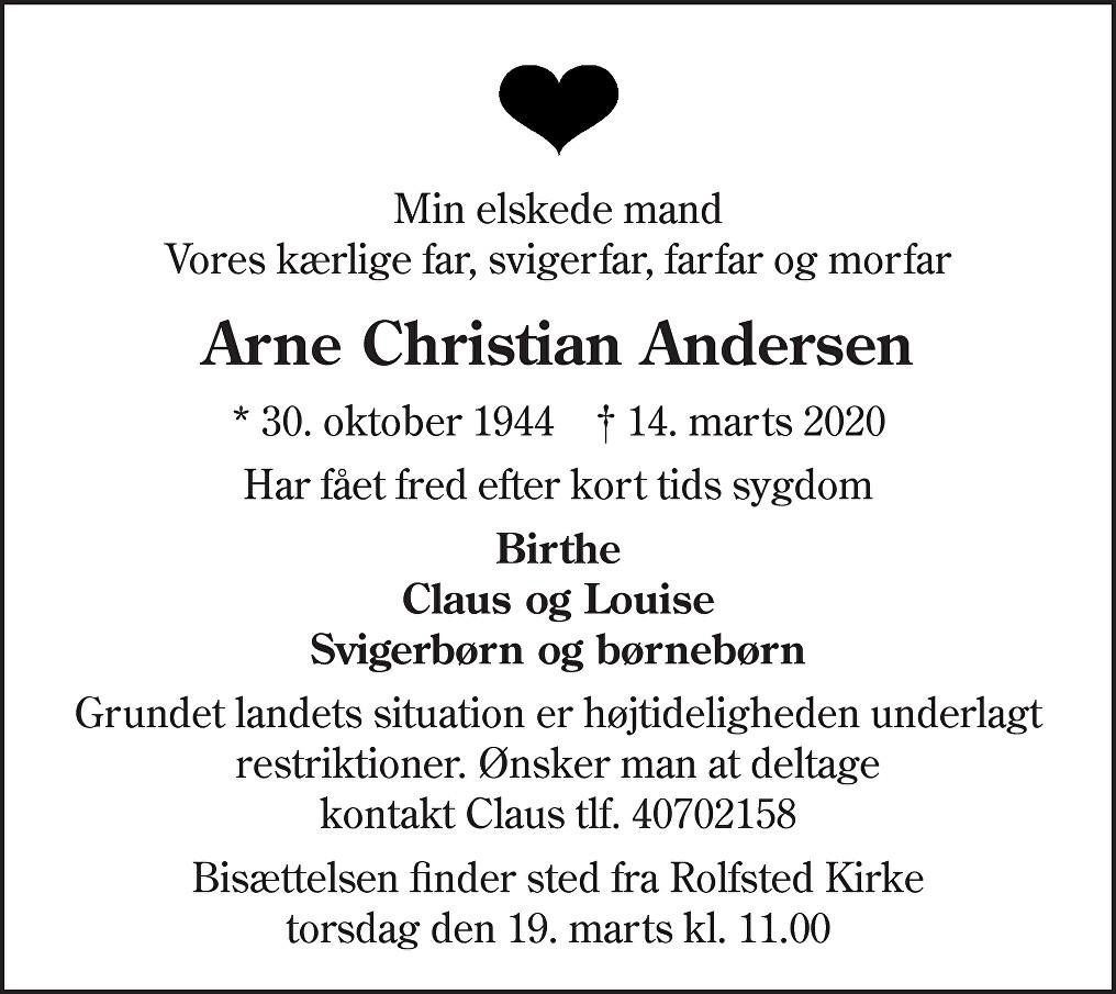 Arne Christian Andersen Death notice
