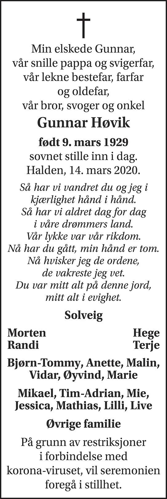 Gunnar Høvik Dødsannonse