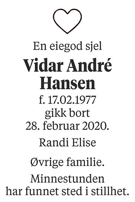 Vidar André Hansen Dødsannonse