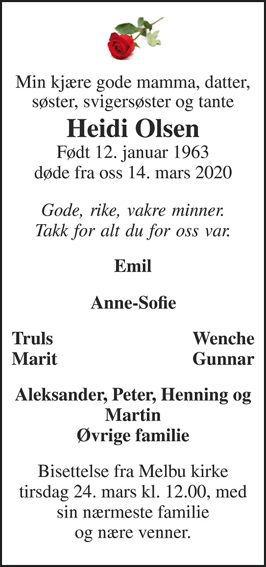 Heidi Olsen Dødsannonse