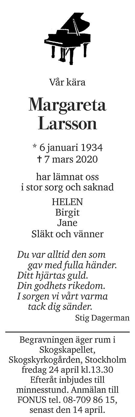 Margareta Larsson Death notice