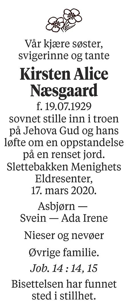 Kirsten Alice Næsgaard Dødsannonse